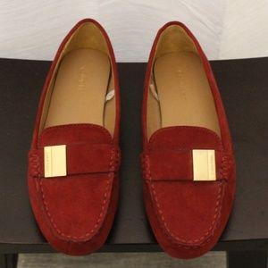 Calvin Klein Red Suede Loafer Gold Buckle Sz 6